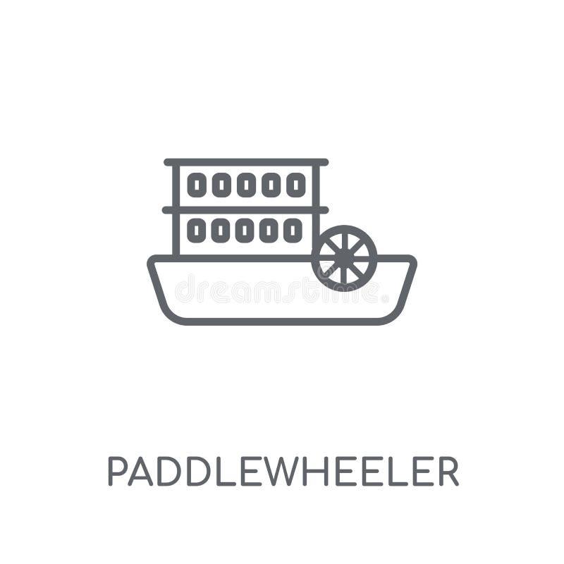 paddlewheeler线性象 现代概述paddlewheeler商标骗局 向量例证