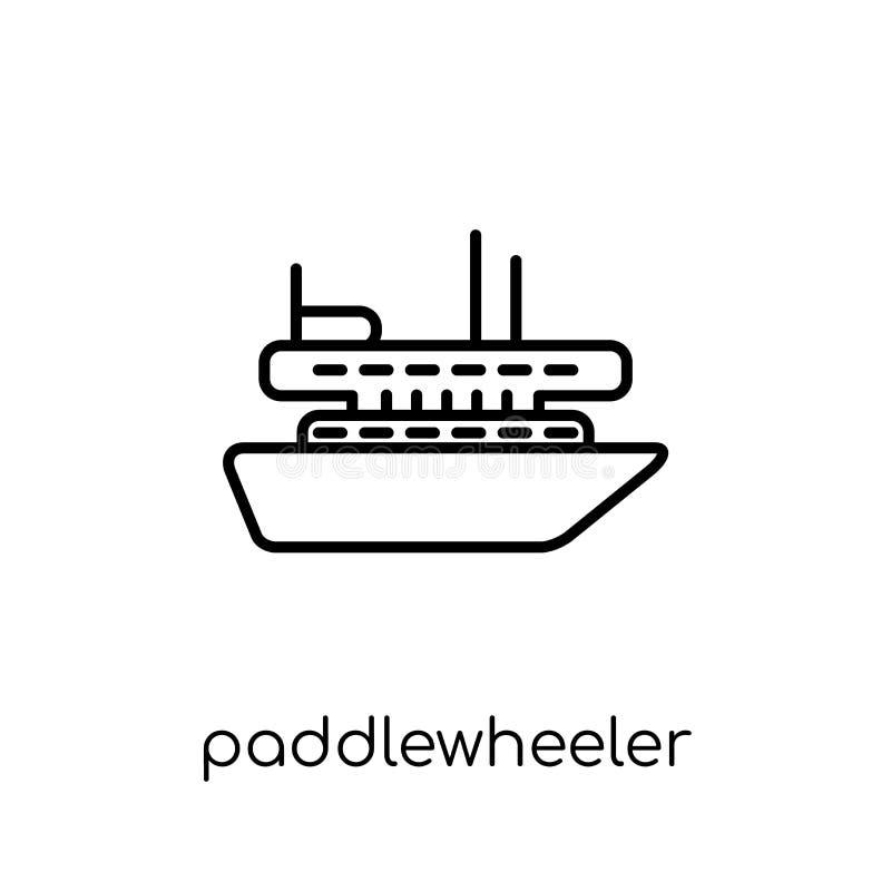paddlewheeler象 时髦现代平的线性传染媒介桨轮 库存例证