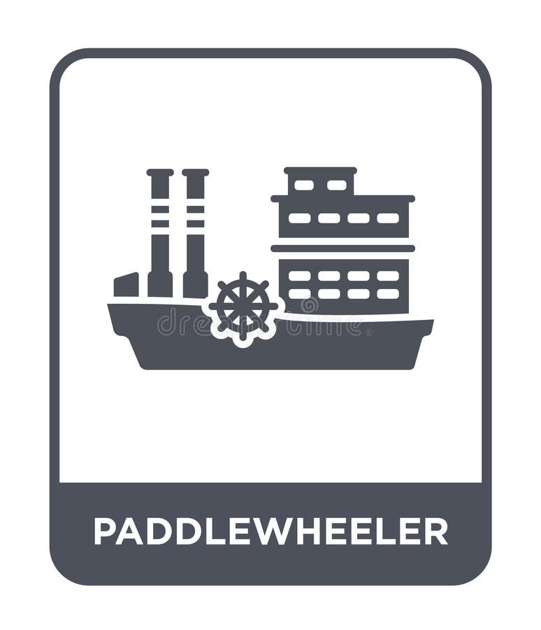 Paddlewheeler icon in trendy design style. paddlewheeler icon isolated on white background. paddlewheeler vector icon simple and. Modern flat symbol for web royalty free illustration