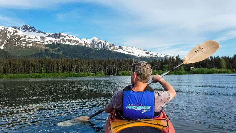 Paddling Alaska stock photography