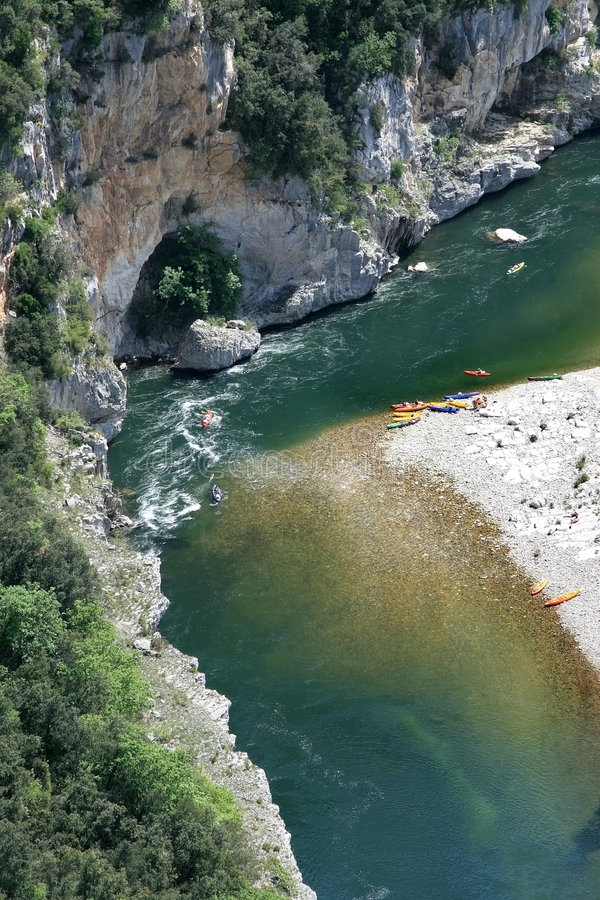 Free Paddling At The French Ardeche River Stock Photos - 8121743