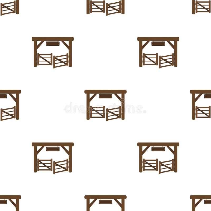 Paddock gate icon in cartoon style isolated on white background. vector illustration