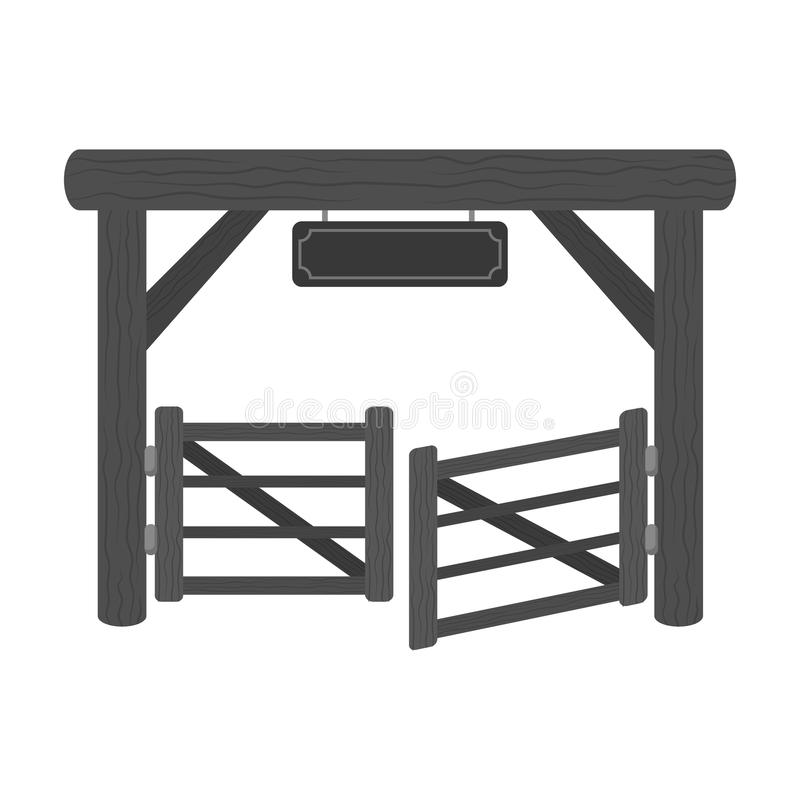 Paddock gate icon in monochrome style isolated on white background. Rodeo symbol. vector illustration