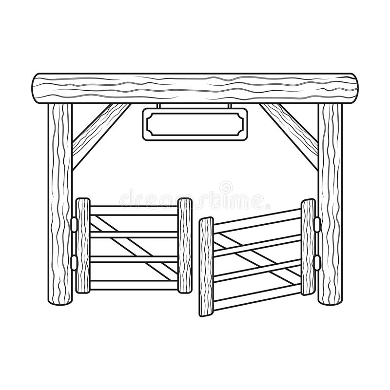 Paddock gate icon in outline style isolated on white background. Rodeo symbol. stock illustration