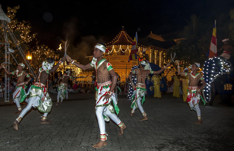 Paddy Dancers(Goyan Netuma) perform during the Esala Perahera in Kandy, Sri Lanka. The Paddy Dance represents the harvesting of the crop with sickles and stock images