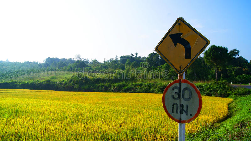 Paddy traffic signs. Mountains thailand royalty free stock photo
