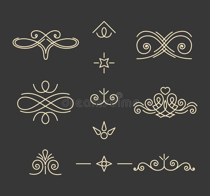 Pade decorations set. Vintage calligraphic elements. Book decor. Ornamental filigree pattern. Black and white isolated. Vector. Pade decorations set. Vintage royalty free illustration