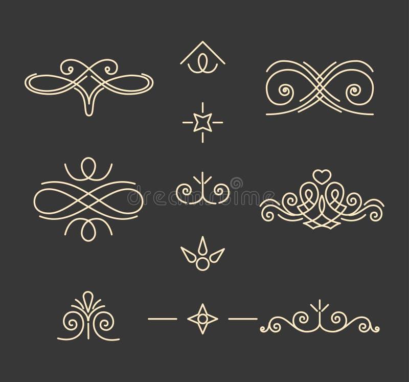 Pade garneringuppsättning calligraphic elementtappning Bokdekor Dekorativ filigranmodell Isolerat svartvitt vektor royaltyfri illustrationer