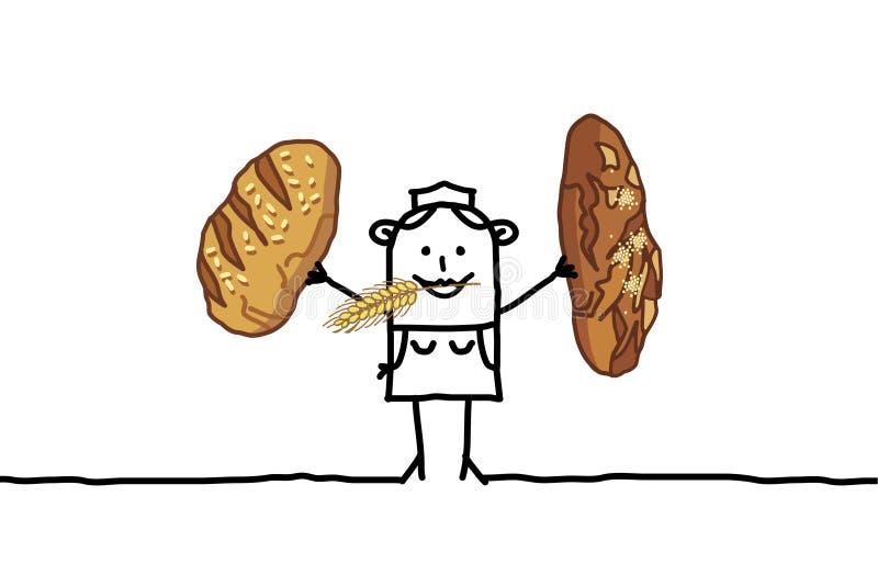 Padeiro & pães ilustração royalty free