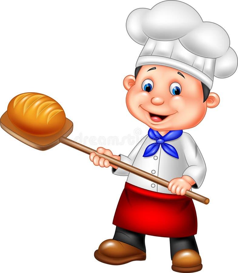 Padeiro dos desenhos animados que guarda a ferramenta da casca da padaria com pão ilustração royalty free