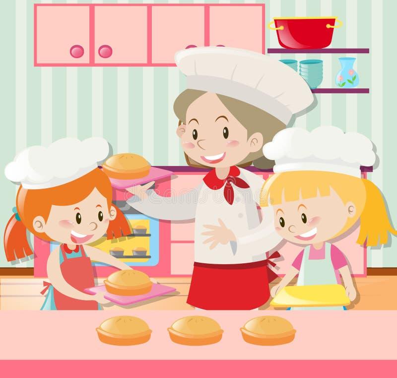 Padeiro e duas meninas que cozem a torta ilustração stock
