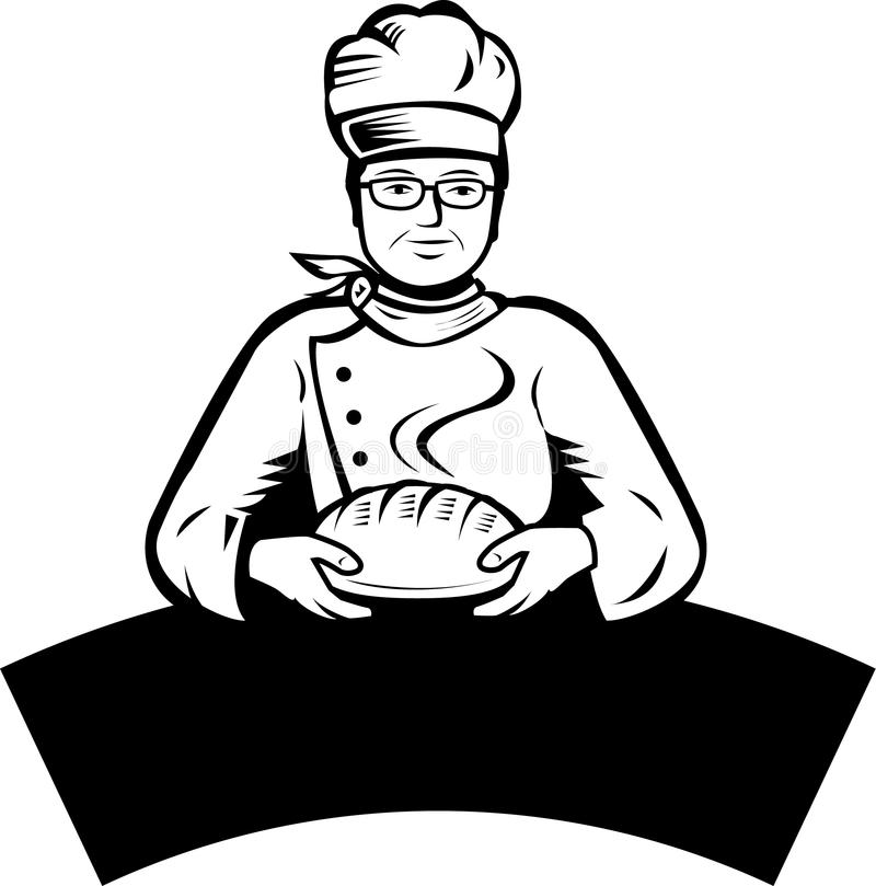 Padeiro e pão ilustração do vetor
