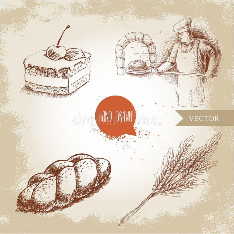 Padeiro que faz o pão fresco no forno de pedra, no bolo de chocolate de creme com cereja, no bolo fresco do sésamo e no grupo do  ilustração stock