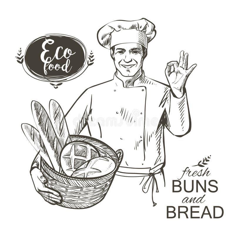 Padeiro que leva uma cesta com pão ilustração stock