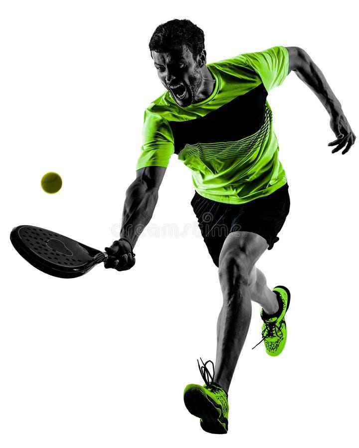 Padel gracz w tenisa m??czyzna odosobniony bia?y t?o obraz royalty free