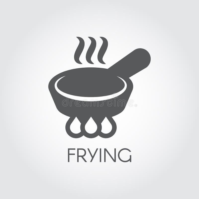 Padella con vapore sull'icona accesa del bruciatore illustrazione di stock