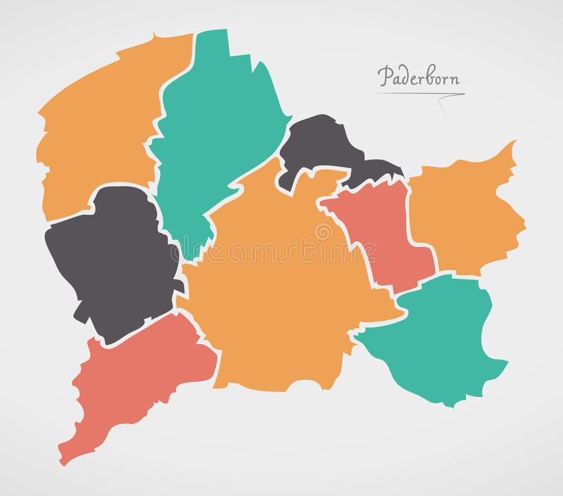 Paderborn Map with boroughs and modern round shapes. Illustration stock illustration