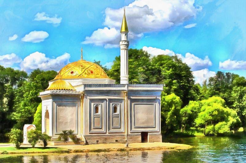 Padiglione Catherine Park Tsarskoe Selo del bagno turco royalty illustrazione gratis