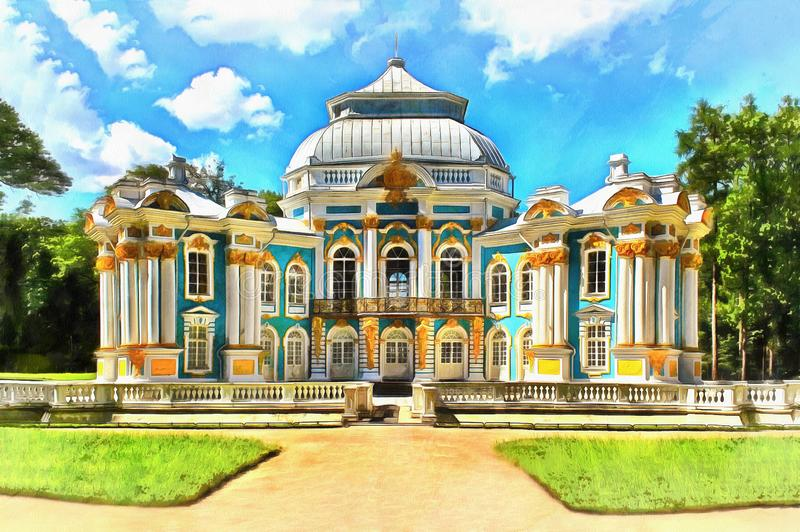 Padiglione dell'eremo in Catherine Park in Tsarskoye Selo illustrazione di stock