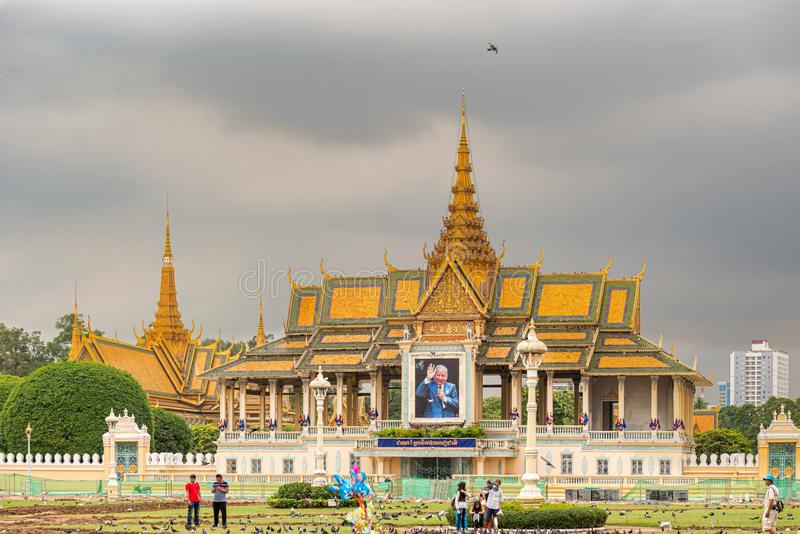 Padiglione di luce della luna, parte del complesso del palazzo reale, Phnom Penh fotografia stock