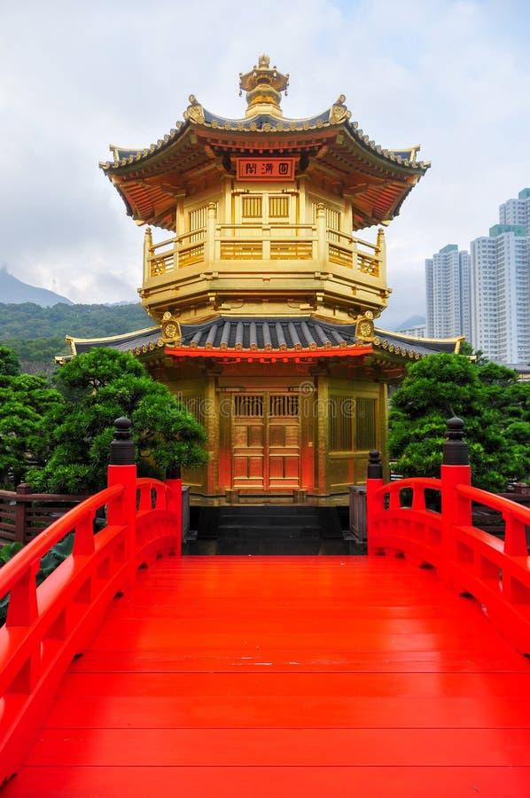 Padiglione dorato di Nan Lian Garden, Hong Kong fotografia stock
