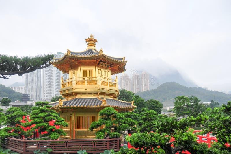 Padiglione dorato di Nan Lian Garden, Hong Kong immagini stock