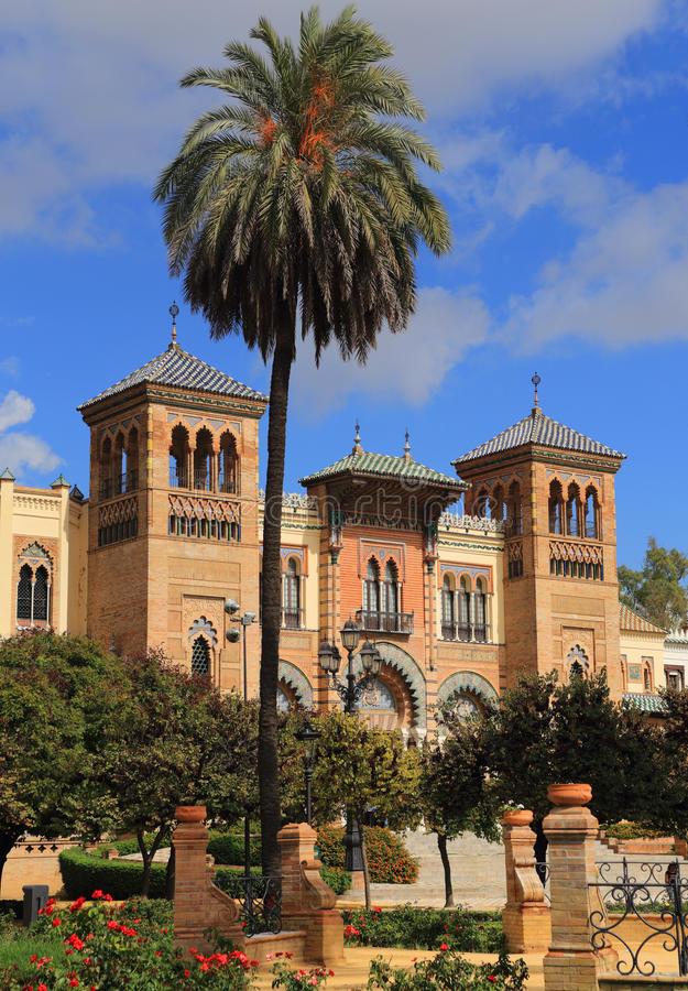 Padiglione Mudejar, Maria Luisa Park Siviglia, Andalusia, Spagna fotografie stock