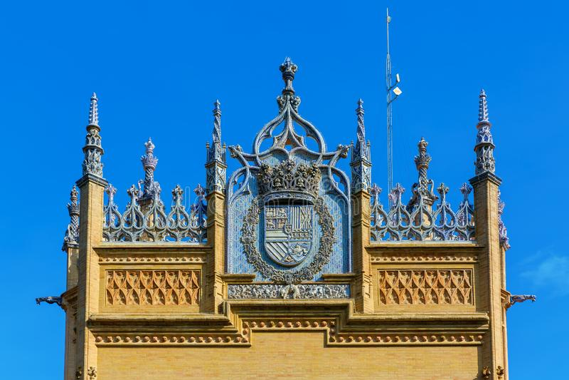 Padiglione reale nel parco Maria Luisa in Siviglia, Spagna fotografie stock