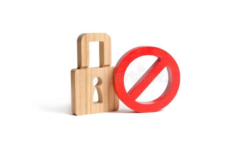 Padlock и символ нет на изолированной предпосылке Концепция защиты личных прав и свобод Запретите шифрование стоковая фотография rf