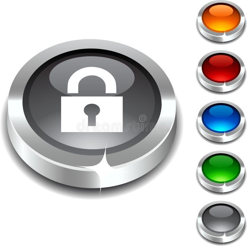 padlock кнопки 3d иллюстрация вектора