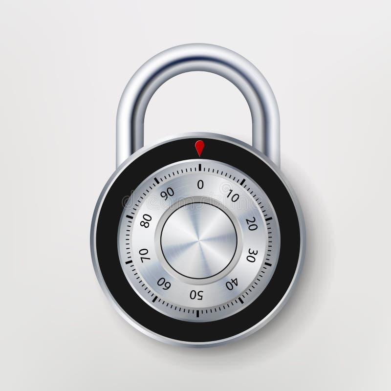 Padlock комбинации, реалистическая иллюстрация вектора металла Значок замка безопасностью иллюстрация штока
