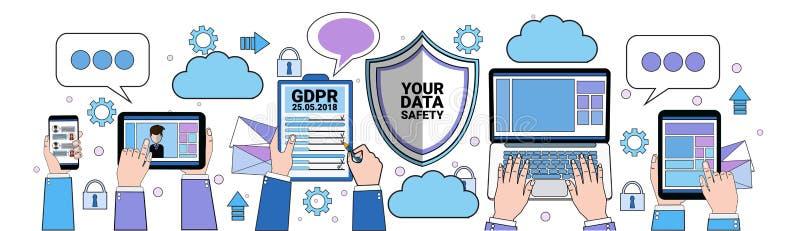 Padlock таблетки экрана облака безопасности данных над безопасностью сервера общей защиты данных регулированной GDPR синхронизаци бесплатная иллюстрация