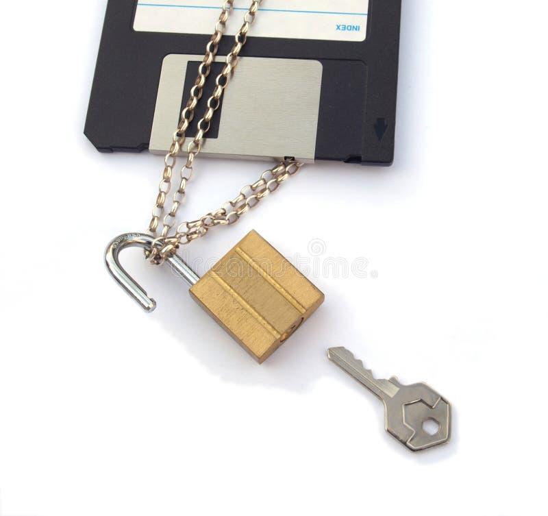 padlock цепного диска неповоротливый ключевой стоковое фото