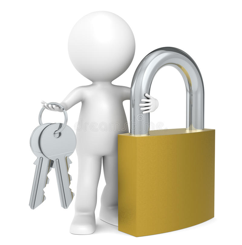 Padlock. 3D little human character with a padlock. People series vector illustration