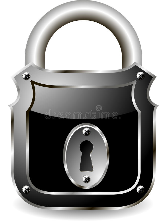 Padlock. Illustration of a metal padlock with a black vector illustration