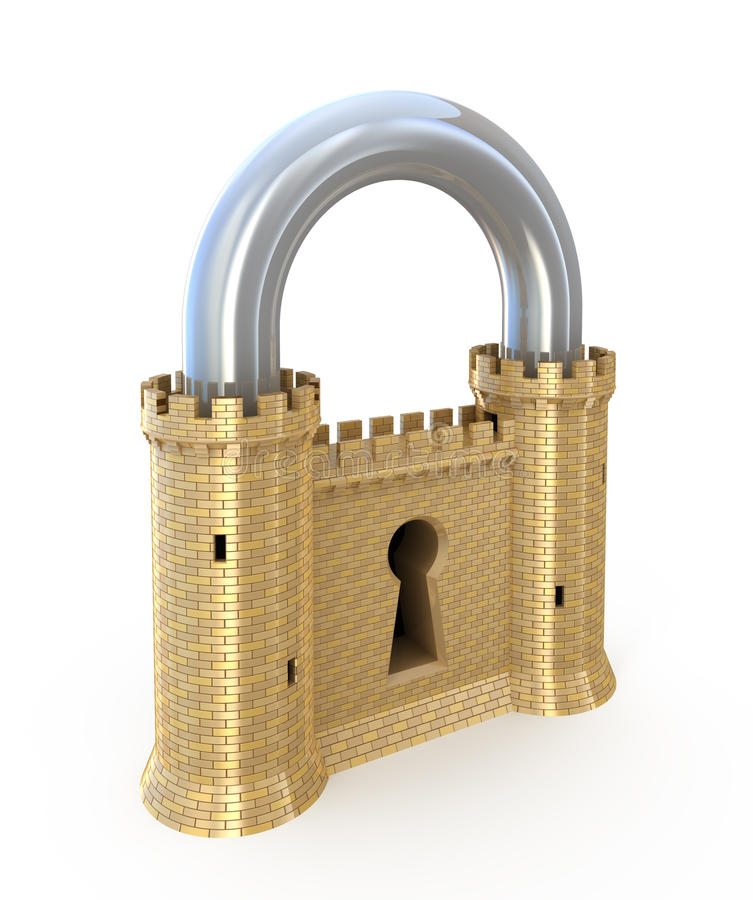 Padlock as fortress. Security concept. Padlock as fortress isolated on white stock illustration