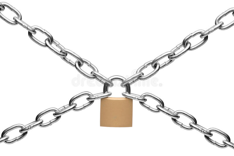 Padlock and chain. Isolated on white background stock photos