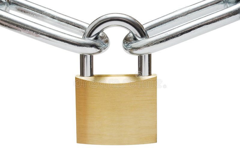 Padlock on Chain Links. Golden padlock connecting two chain links. Isolated on a white background royalty free stock photography