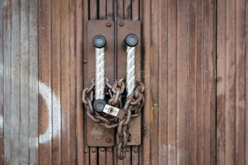 Download Padlock And Chain Locked Securely On Rusty Door Stock Image - Image of insecure & Padlock And Chain Locked Securely On Rusty Door Stock Image - Image ...