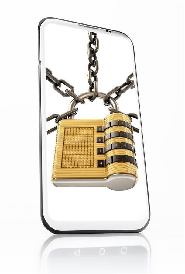 Padlock and chain on smartphone screen. 3D illustration.  vector illustration