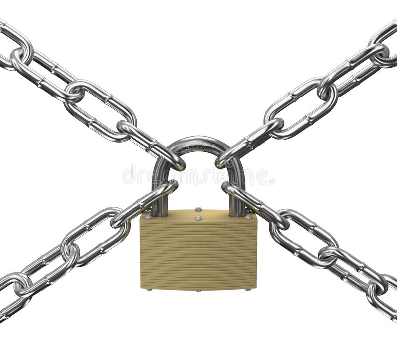 Padlock and chains on a white background stock image