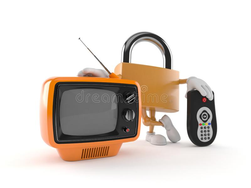 Padlock character with tv set and remote. Isolated on white background. 3d illustration royalty free illustration