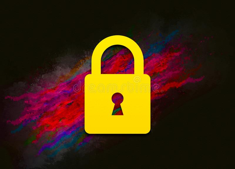 Padlock close icon colorful paint abstract background brush strokes illustration design. Creative bright red color texture fluid liquid waves stock illustration