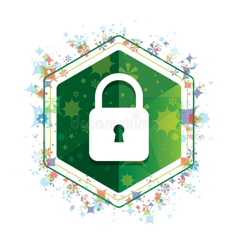 Padlock close icon floral plants pattern green hexagon button vector illustration