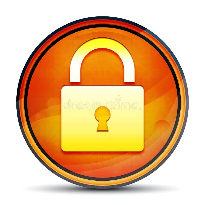 Padlock close icon shiny bright orange round button illustration royalty free illustration