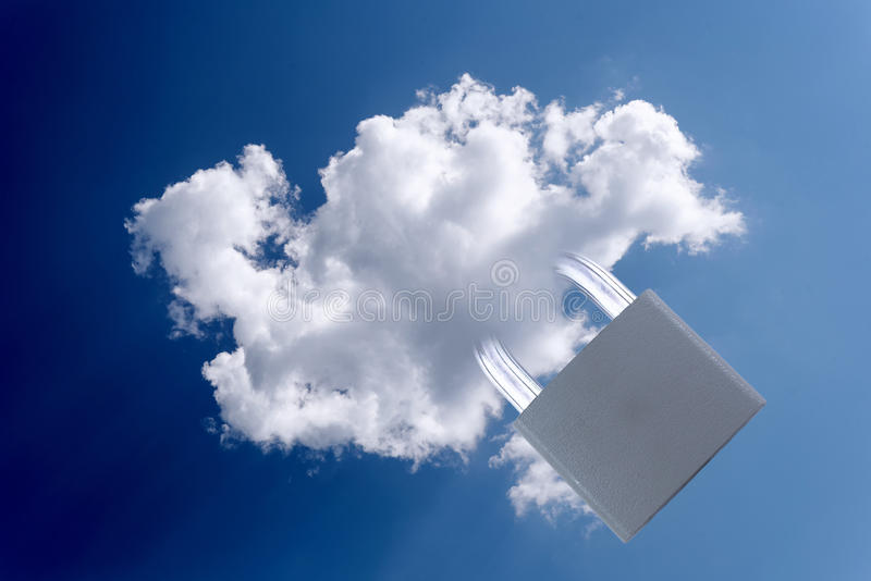 Padlock and Cloud Security Concept royalty free stock photography