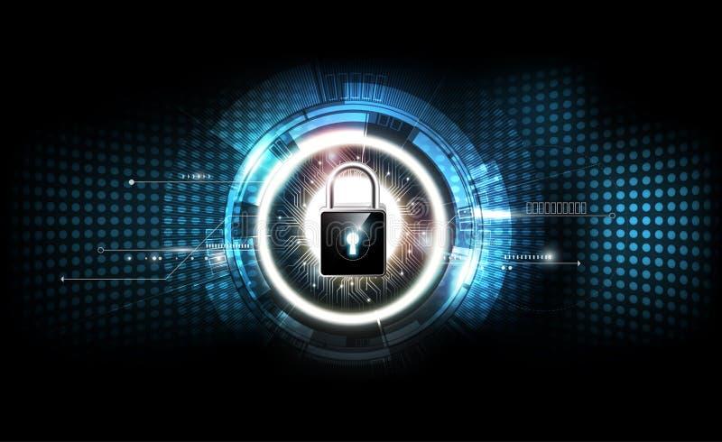 Padlock com conceito do fechamento da segurança e fundo eletrônico futurista da tecnologia, ilustração transparente do vetor ilustração royalty free