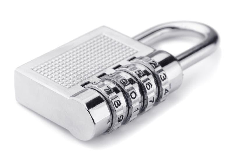 Padlock. Combination padlock isolated on white royalty free stock image