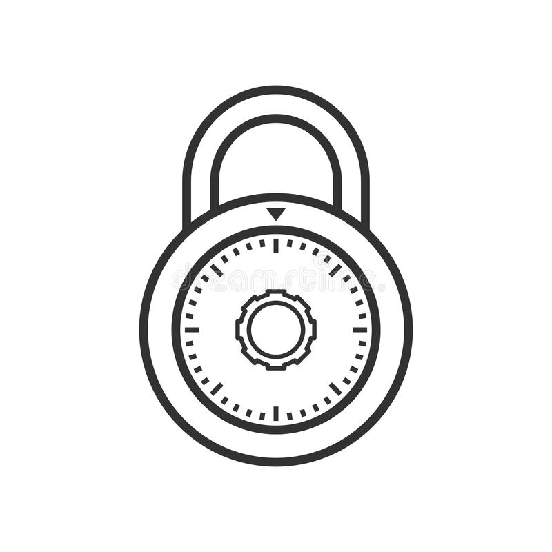Padlock with Combination Outline Flat Icon royalty free illustration