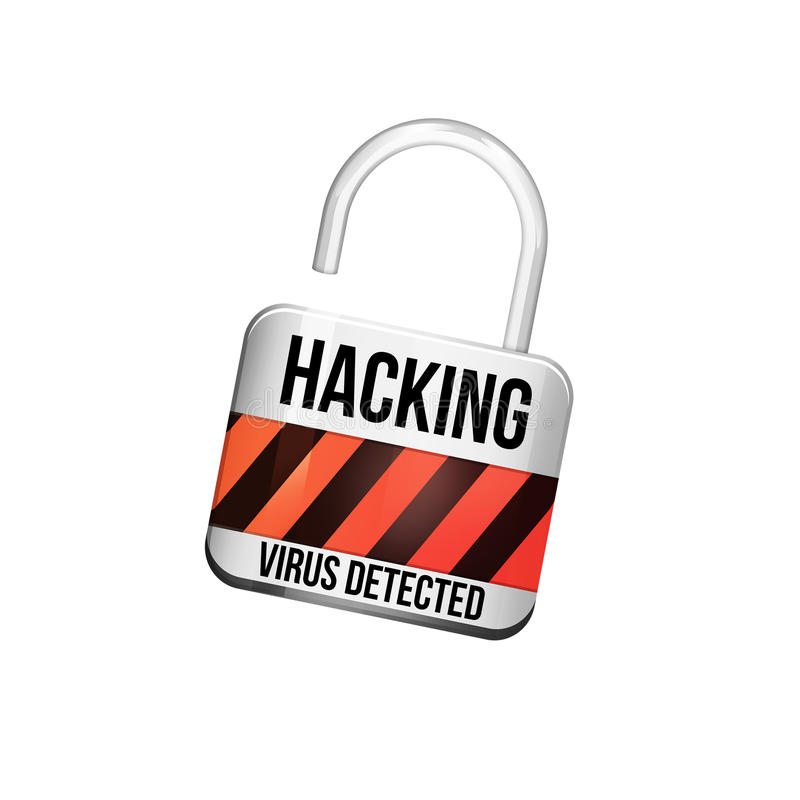 Padlock a conexão da segurança cortada indicada em um int futurista ilustração do vetor